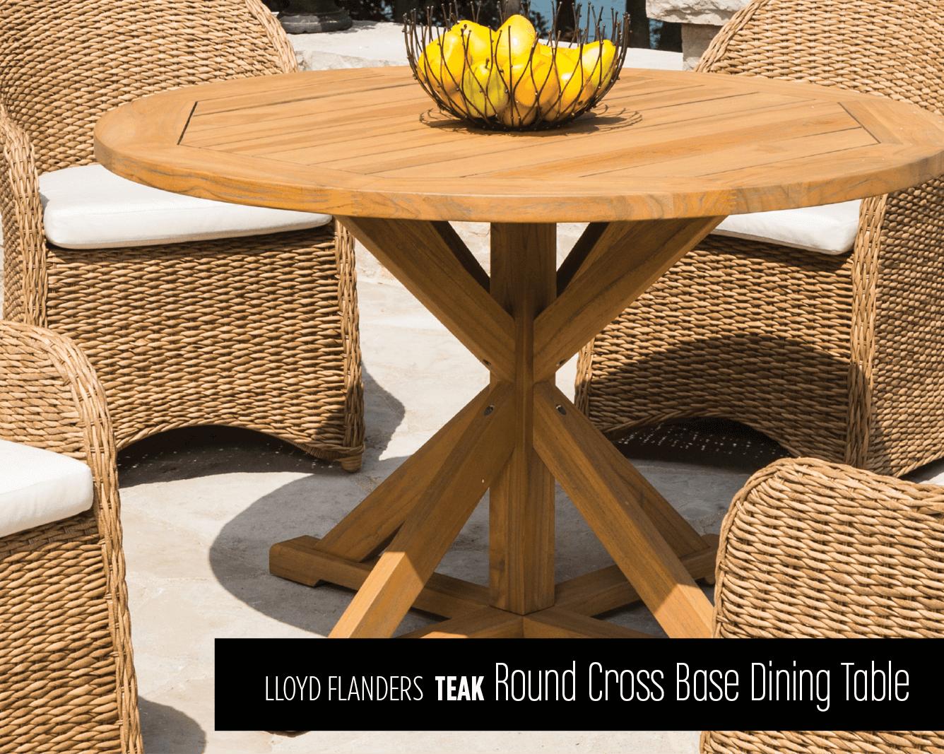 Lloyd Flanders Teak Round Cross Base Dining Table