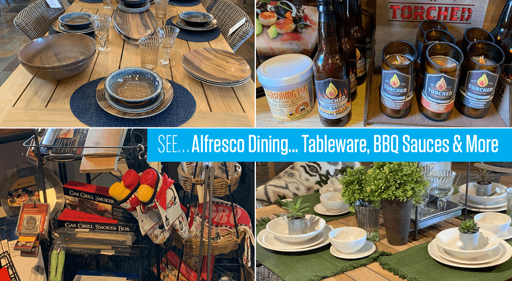 see alfresco dining, tableware, barbecue sauces, and more