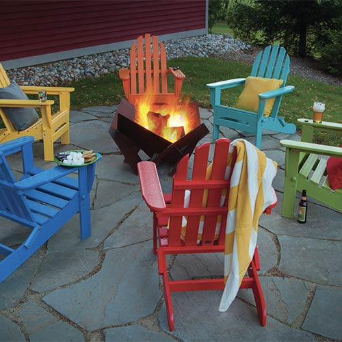photo of colorful Adirondack chairs